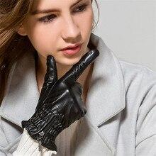 Black Lambskin Gloves Womans Genuine Leather Winter Plus Velvet Thicken Keep Warm Locomotive Style WL02