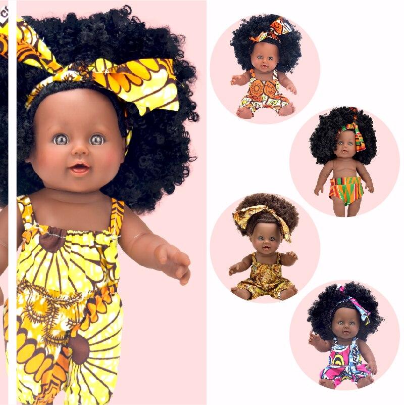 rainbow! African black 12inch baby dolls reborn girl boneca corpo inteiro de silicone born lifelike fashion cute boy brands