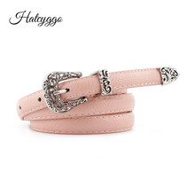 HATCYGGO Retro Leather Belts For Women Belt female Carved Pin buckle Adjustable Welts Harajuku Fashion Waistband