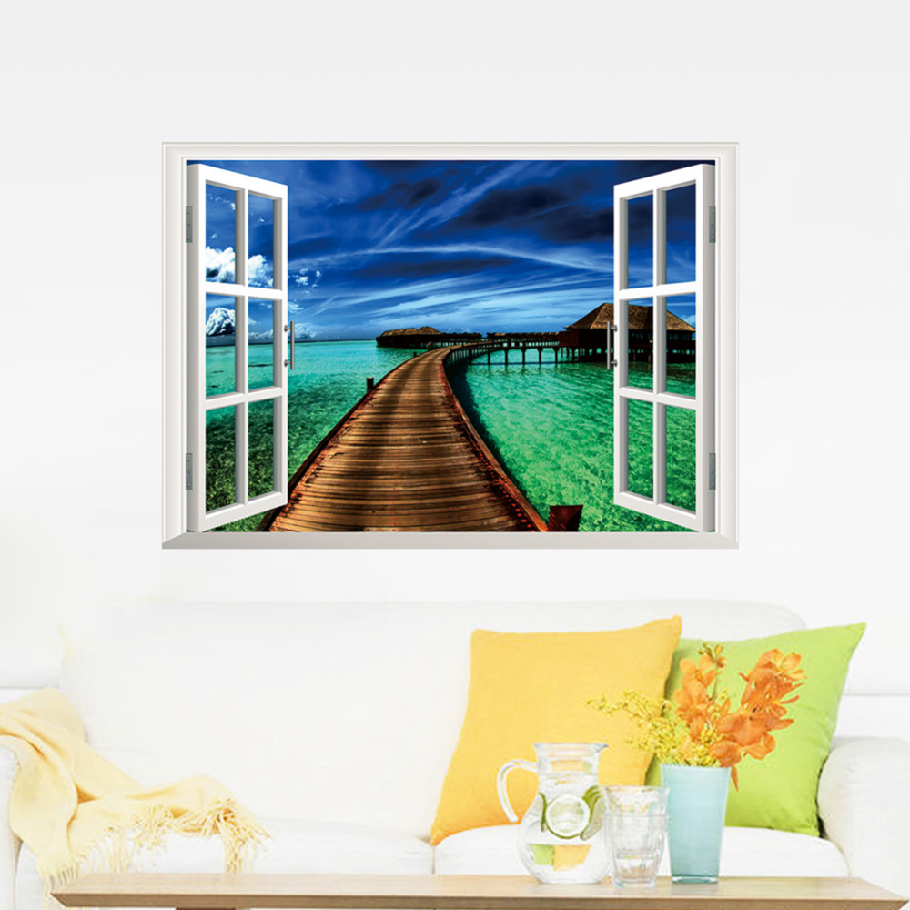 Newest beach corner 3d 3d window view removable wall for Stickers 3d pared