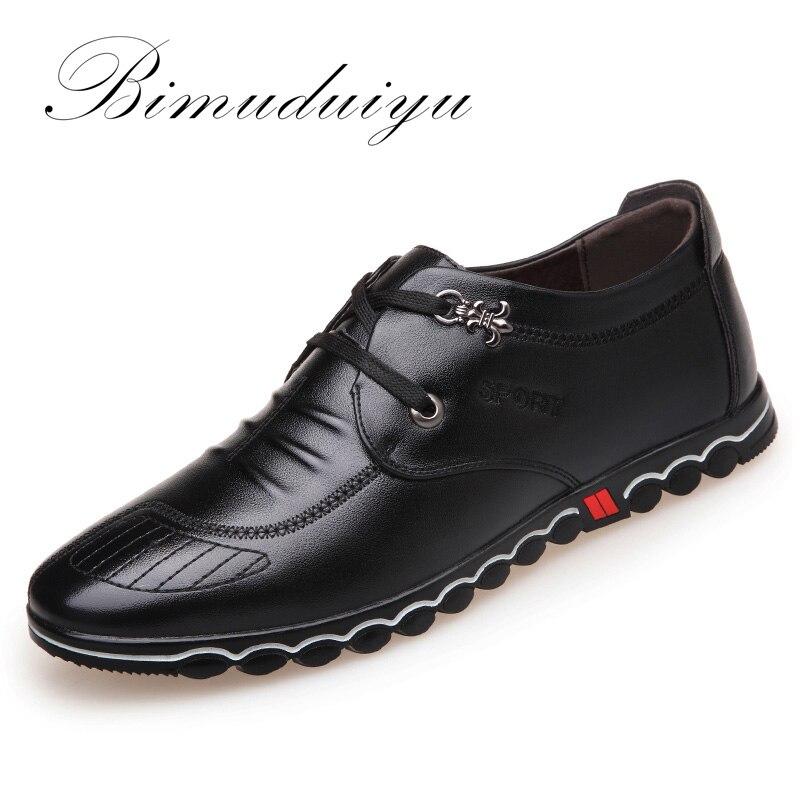 BIMUDUIYU 2018 Весенняя мода новый супер волокна кожи мягкие удобные Для мужчин; повседневная обувь Портативный обувь для вождения шнуровка Туфли...