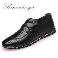 BIMUDUIYU 2018 Spring Fashion New Super Fiber Leather Soft Comfortable Men's Casual Shoes Portable Driving Shoes Laces Flats