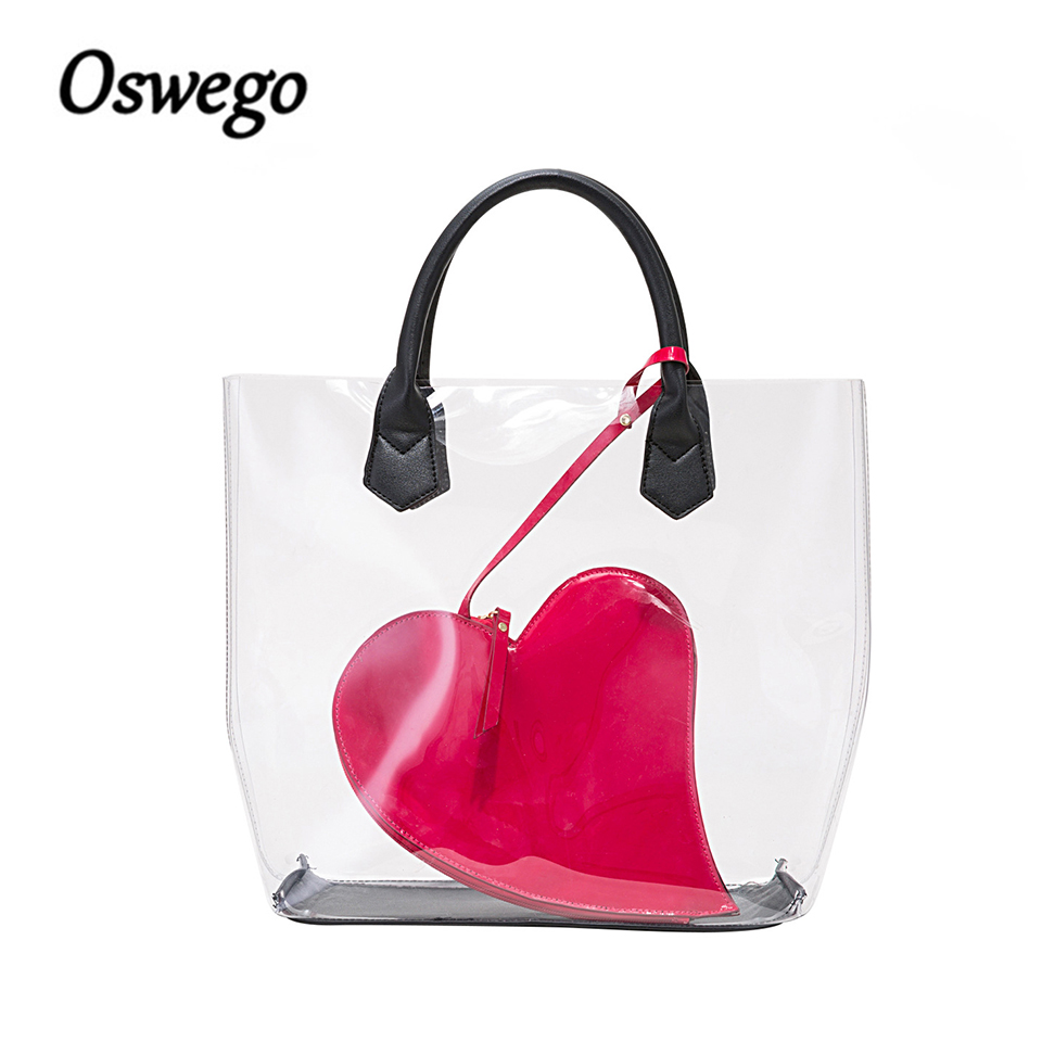 Oswego Transparent Tote Bag Shopping Shoulder Bag PVC Waterproof Handbag Summer Women Bag Coin Purse For Swimsuits Cosmetics free shipping butterfly shopping bag lovely pvc waterproof ted bag colorful jelly handbag women handbag with original logo