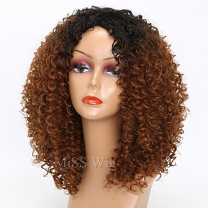 Image 3 - MISS WIG Black Mixed Brown Kinky Curly Wigs For Black Women Afro Wig Synthetic Hair African Hairstyle Hight Temperature Fiber