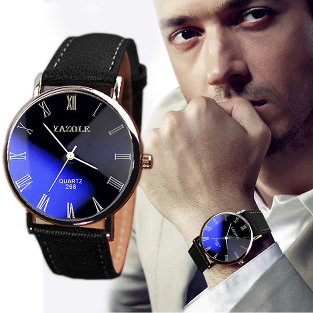 Luxury Fashion Faux Leather Mens Quartz Analog Watch Watches Black  Men's watch Wrist Party decoration Business Watch gif for ma