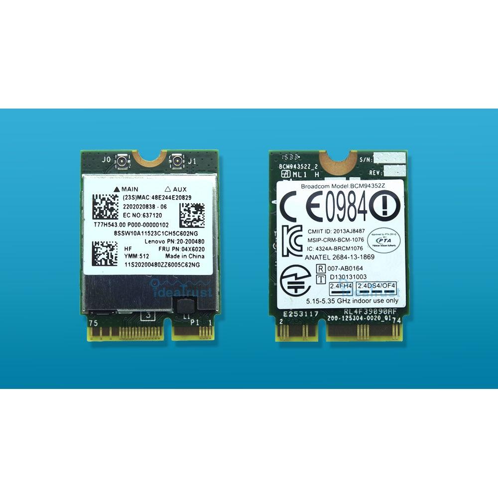Tout nouveau BCM94352Z Fru 04X6020 AC BT4.0 867 Mbps pour lenovo B40 B50 E40 Y50 YAGA 3 carte réseau sans fil WiFi