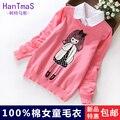 Roupas meninas criança princesa vento 100% algodão de malha camisa camisola falso duas peças set 100% camisola de algodão
