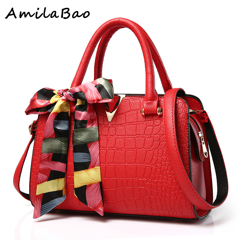Brand Women's Handbags Genuine Leather Bag Ladies Women Messenger Bags Shoulder Bag Female Tote Alligator Bag have Ribbons ME582  brand women s handbags genuine leather bag ladies women messenger bags shoulder bag female tote alligator bag have ribbons me582