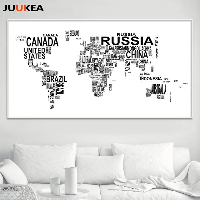 hot sales black white letter world map canvas print painting poster wall pictures for living