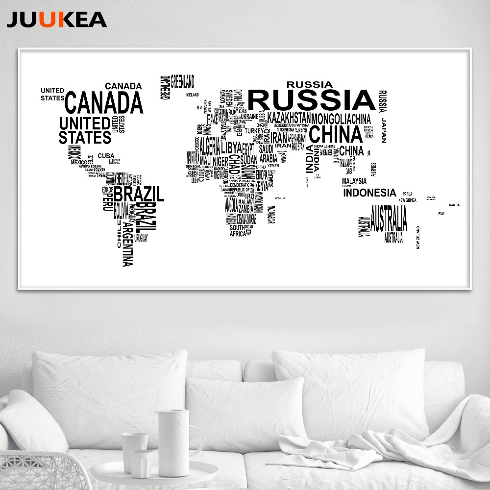 Compare prices on black and white world poster online shoppingbuy hot sales black white letter world map canvas print painting poster over size 78x156cm wall gumiabroncs Gallery