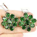 Long Big Emerald, White CZ Created SheCrown Wedding  Silver Earrings 57x35mm
