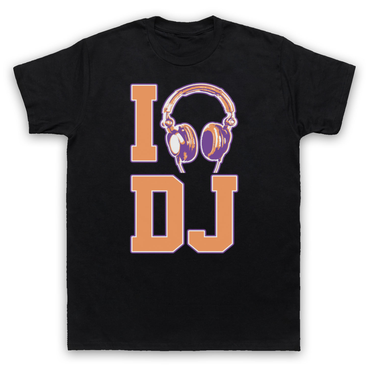 I Love DJ Rave Dance Edm Hip Hop House Music Retro Slogan T-shirt Men's Cotton Short Sleeve Tees Unique Branded Gift Tee image