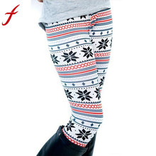 Feitong Christmas Leggings For Women Lady Casual Elasticity Skinny Printed Stretchy Pants Leggings Trouser legins calzas mujer