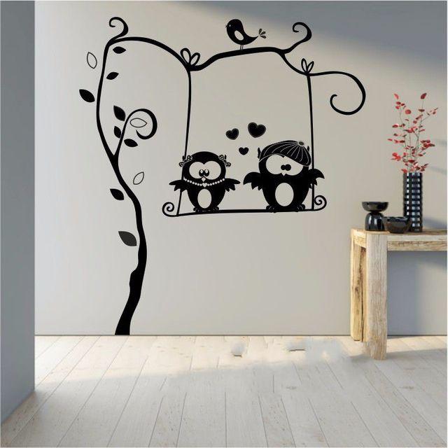 Cute Owl on Branch Childrens Room Decor Kids Vinyl Wall Sticker Room ...