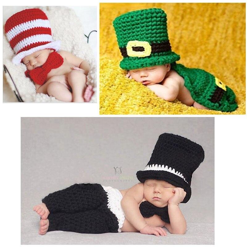 Ventes chaudes Nouveau-Né Photographie Props Hat Vêtements Infantile Garçons  Doux Crochet Costume Tenues À 0cb3622c42f