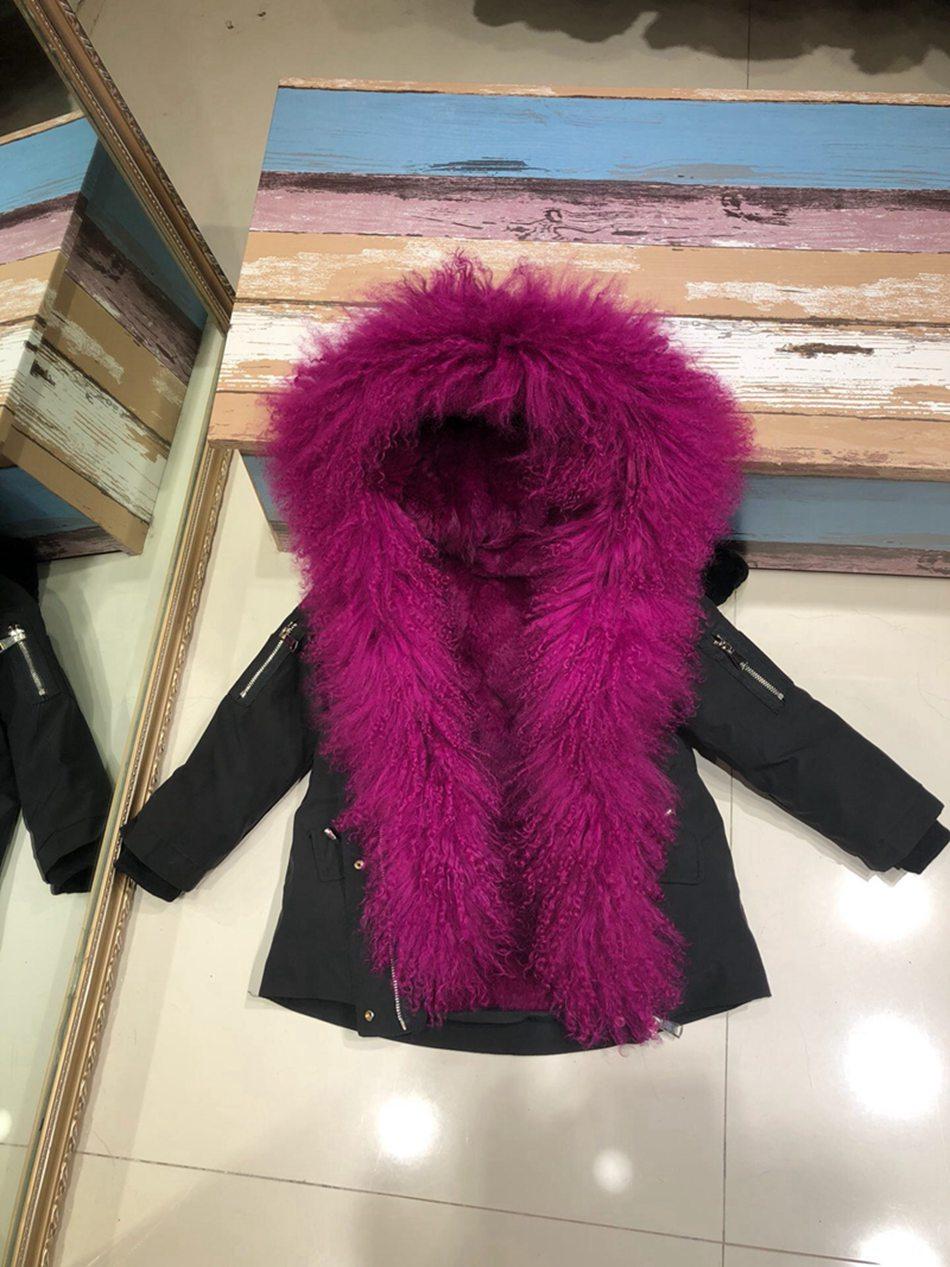 Parent-childs natural fur parkas with hood (7)