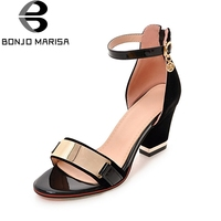 BONJOMARISA Large Size 32 43 Good Quality High Heels Metal Decoration Shoes Sandals Bow Ankle Strap