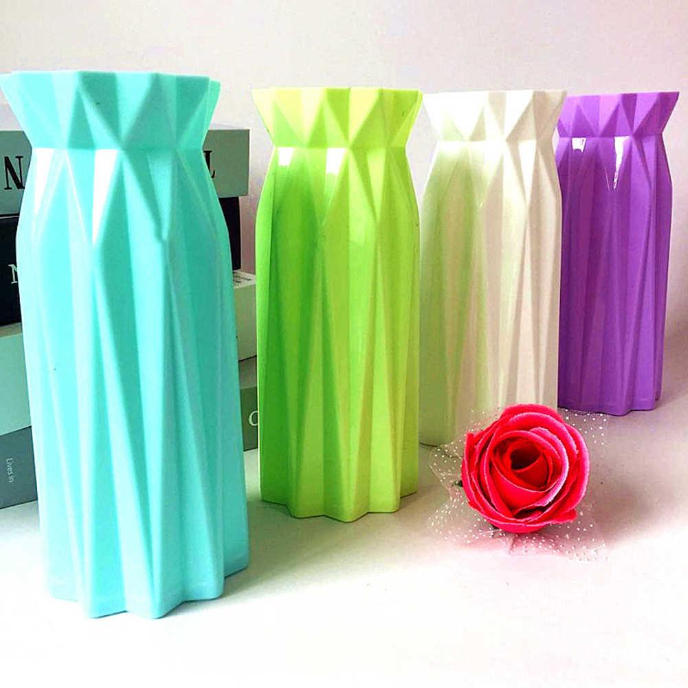 اوريغامي البلاستيك Vases Vaso ديكور 4 ألوان تقليد السيراميك زهرية ل زهرة النباتات سلة وعاء الحاويات الشمال ديكور المنزل 7x17 سنتيمتر