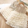 Осеннее платье принцессы для девочек без рукавов; модное платье-пачка с бантом для дня рождения; осенняя одежда для малышей; Детские платья; ...