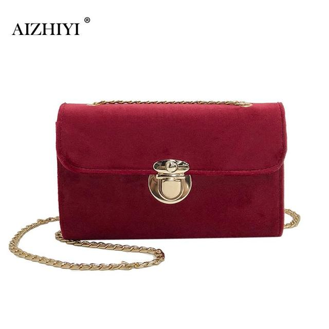 af0faad747 Korean Women Velvet Chain Pack Small Square Pure Hasp Shoulder Bag Small  Package Chain Simple Fashion Exquisite Crossbody Bag
