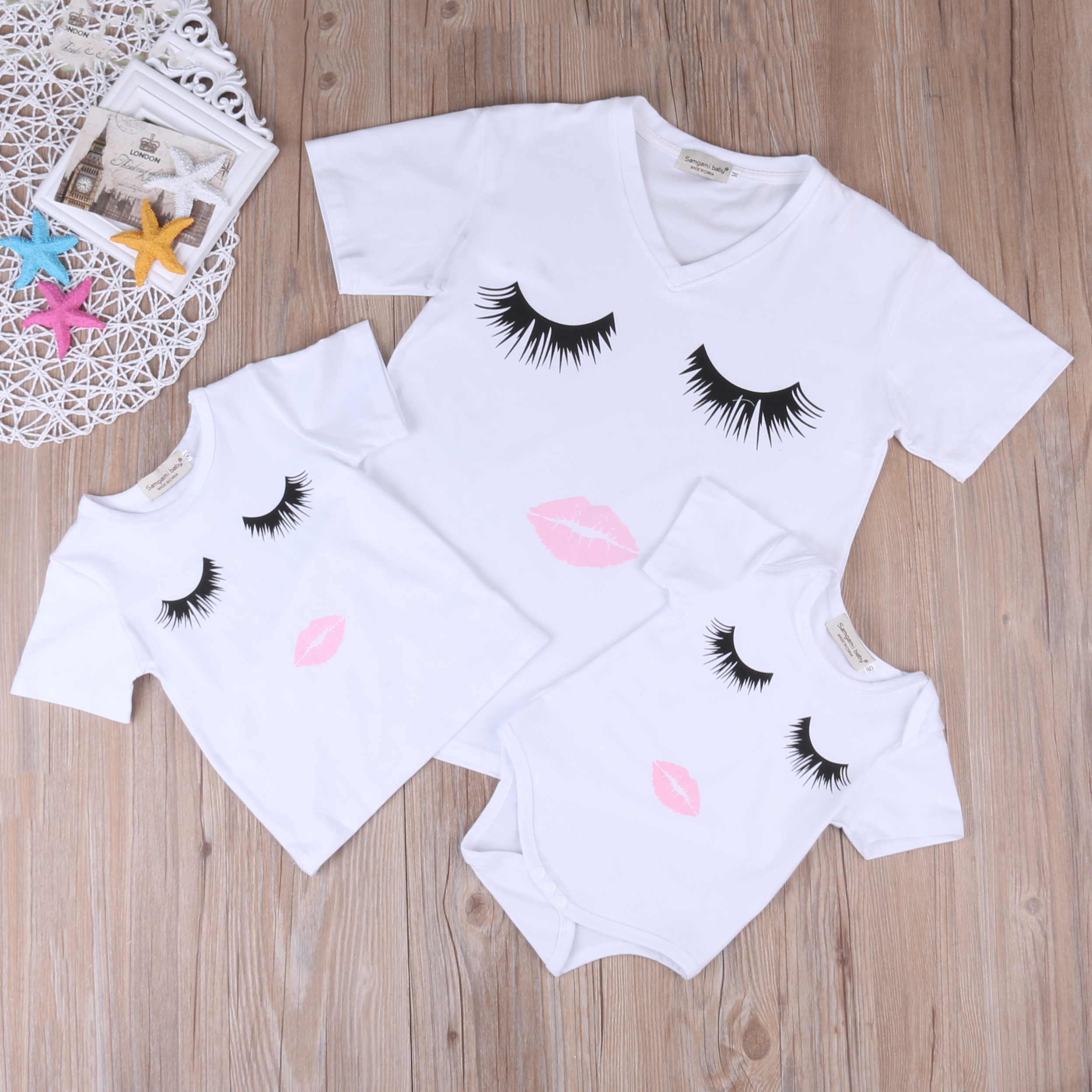Family Matching Outfits Mother and Daughter Short Sleeve T-shirt Eyelash Lips Printed Tops Cotton Fashion White T-shirts Clothes