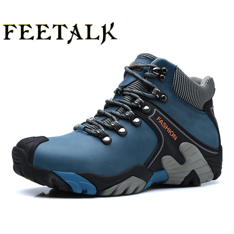 Men Genuine Leather Hiking Shoes Outdoor Waterproof Women Warm Sneakers Breathable Outdoor Sports Shoes Men Walking Sneakers new women hiking shoes outdoor sports shoes winter warm sneakers women mountain high tops ankle plush zapatillas camping shoes