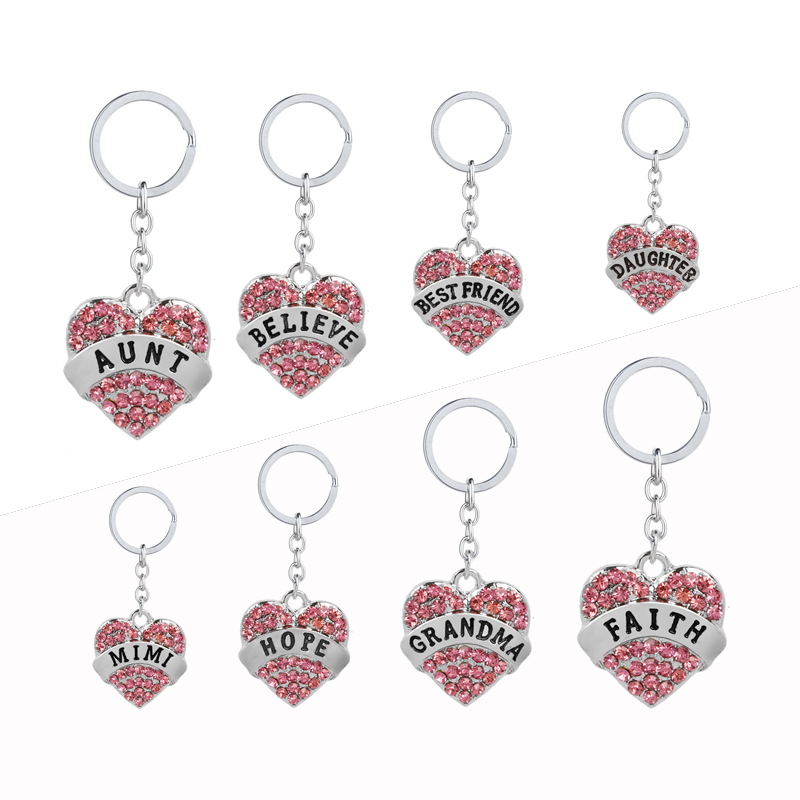 mom daughter teacher Best friend Keychain Heart  Imitation Diamonds Key Rings Family Series Key finder Pink blue white Key chain