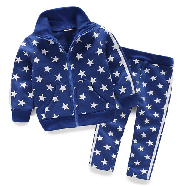 цены на 2017 autumn children's clothing boys sets stars long sleeve boy sets for boys kids causal suits coat and  pants outfits в интернет-магазинах