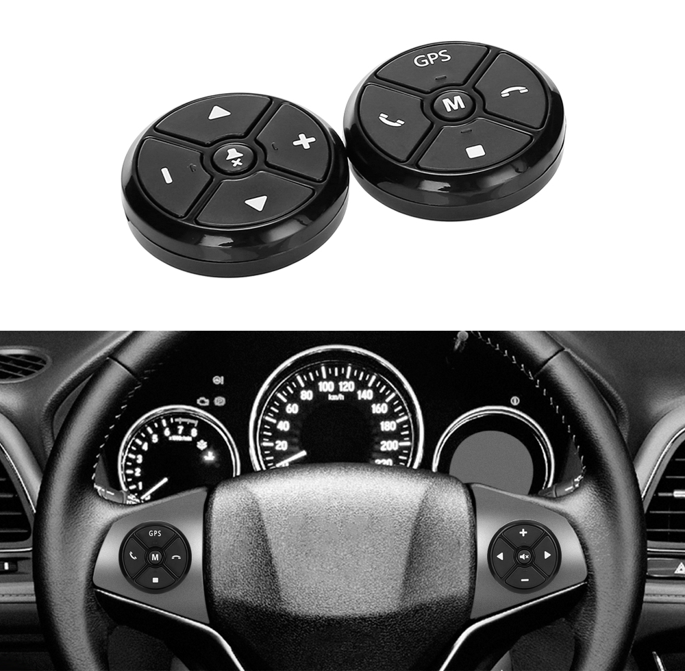 Controlador Da Roda de Direcção Do Carro Universal 4Key Música DVD GPS de Navegação de Rádio Volante Botões De Controle Remoto Sem Fio Preto