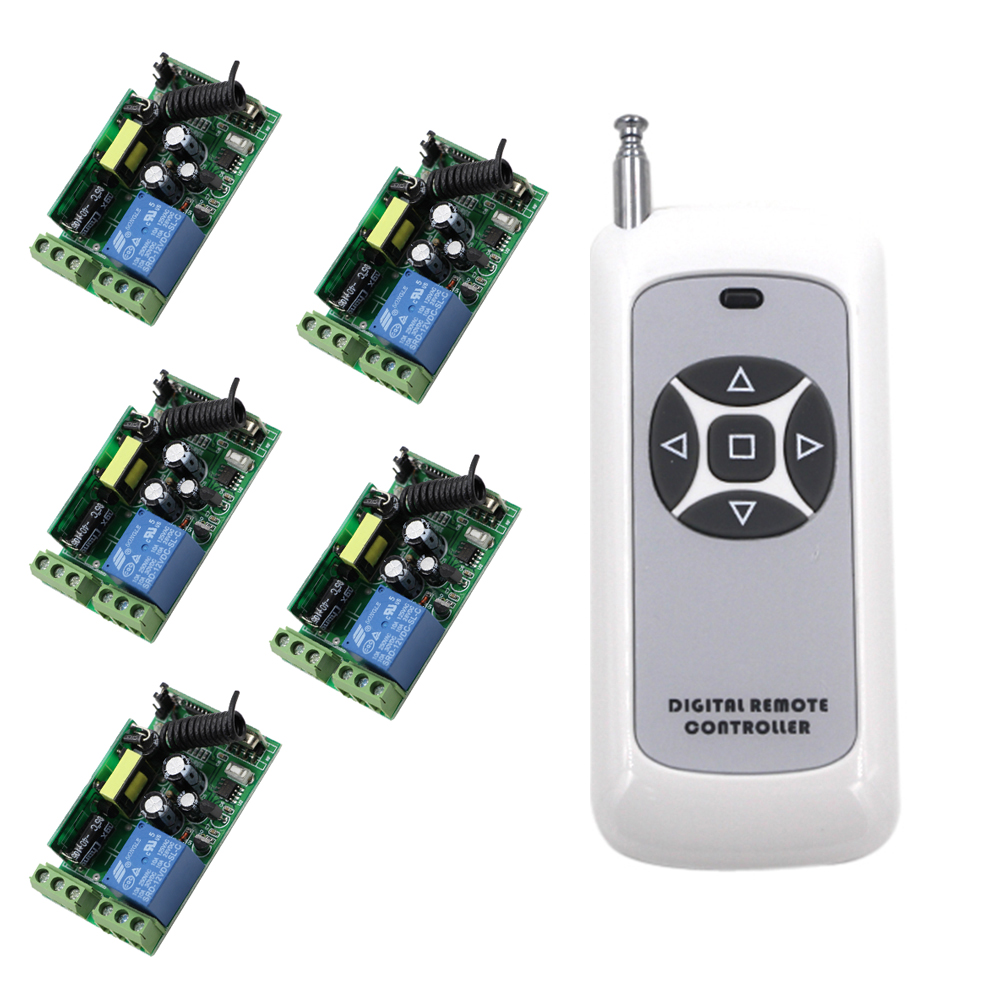 New 10A 1 CH RF Wireless Remote Control Switch Wide Voltage 5pcs Receivers+1pcs Transmitter 85V 110V 220V 250V AC Hot Sale