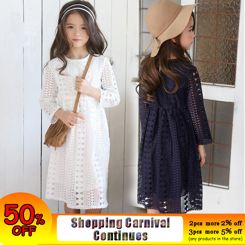 Kids Princess Lace Dress Teens Girls 12 13 14 15 Years Long Sleeve Lace Dress White Dress Dark Blue Dress in Autumn Winter criss cross lace panel long sleeve dress