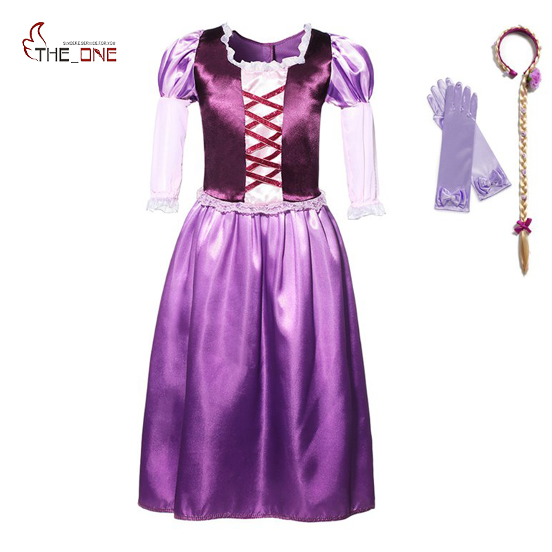 MUABABY Girls Rapunzel Dress Children Summer Tangled Princess Costume Puff Sleeve Noble Queen Halloween Cosplay Party Ball Gown puff sleeve peplum top