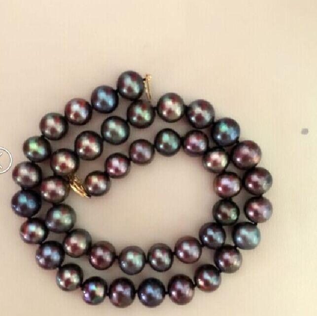 STUNNING9-10mm multicolor black red green necklace 18inchSTUNNING9-10mm multicolor black red green necklace 18inch