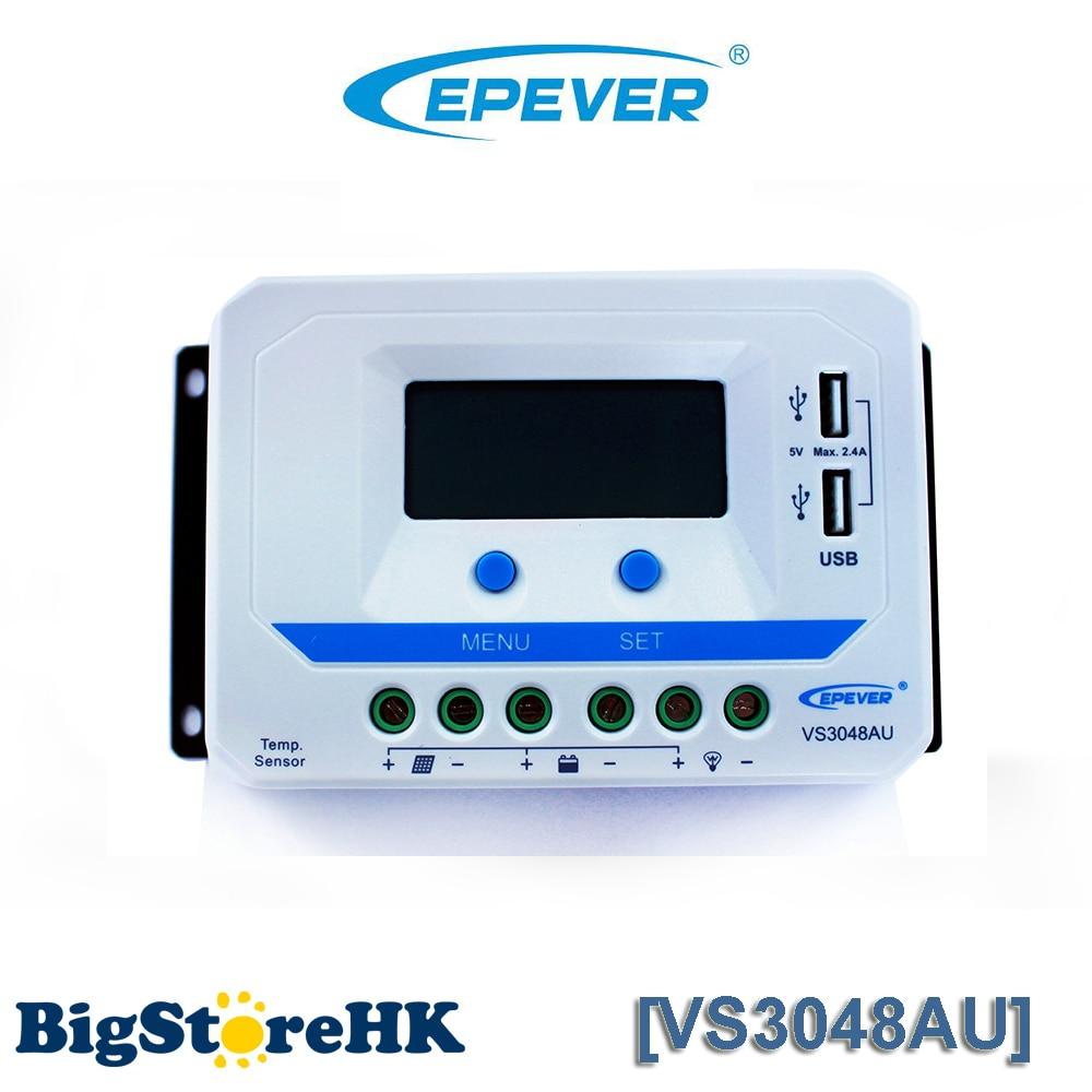 EPever VS3048AU PWM Solar Charge Controller 12V 24V 36V 48V DC Auto with Informative Black Light LCD display Double 5V USB Port solar controller charge with usb port 2440u 12v24v40a