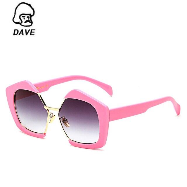 DAVE Vintage Demi-Trame lunettes de Soleil Femmes Marque De Luxe  Surdimensionné Pentagone Lunettes de 55cff69973e2
