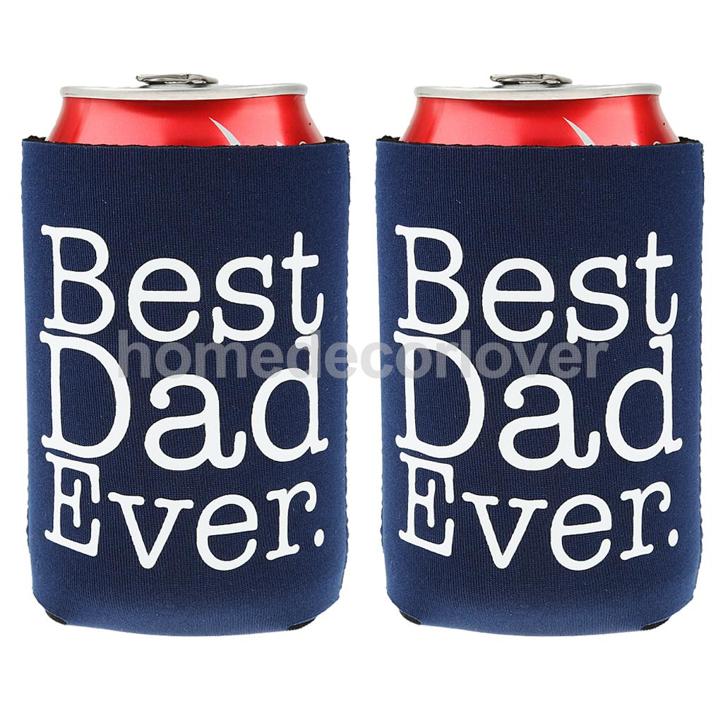 6x Pair of BEST DAD EVER Blue Beer Can Cooler Holders Decor Perfect Fathers Day Gift