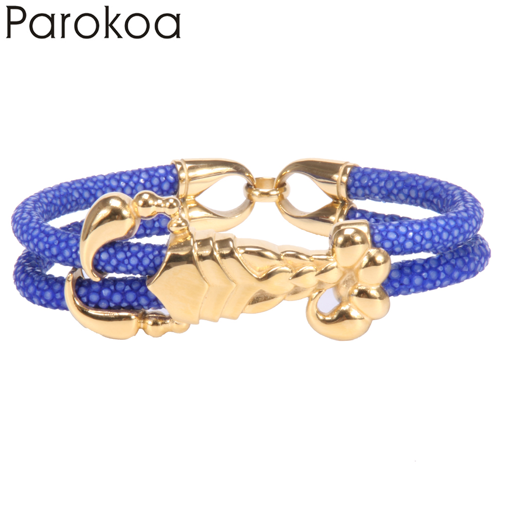 Parokoa Yellow Gold Scorpion Animal Pattern Light Blue Leather Bracelets Expensive Stingray Bracelet Luxury Gift For Father In Charm From Jewelry