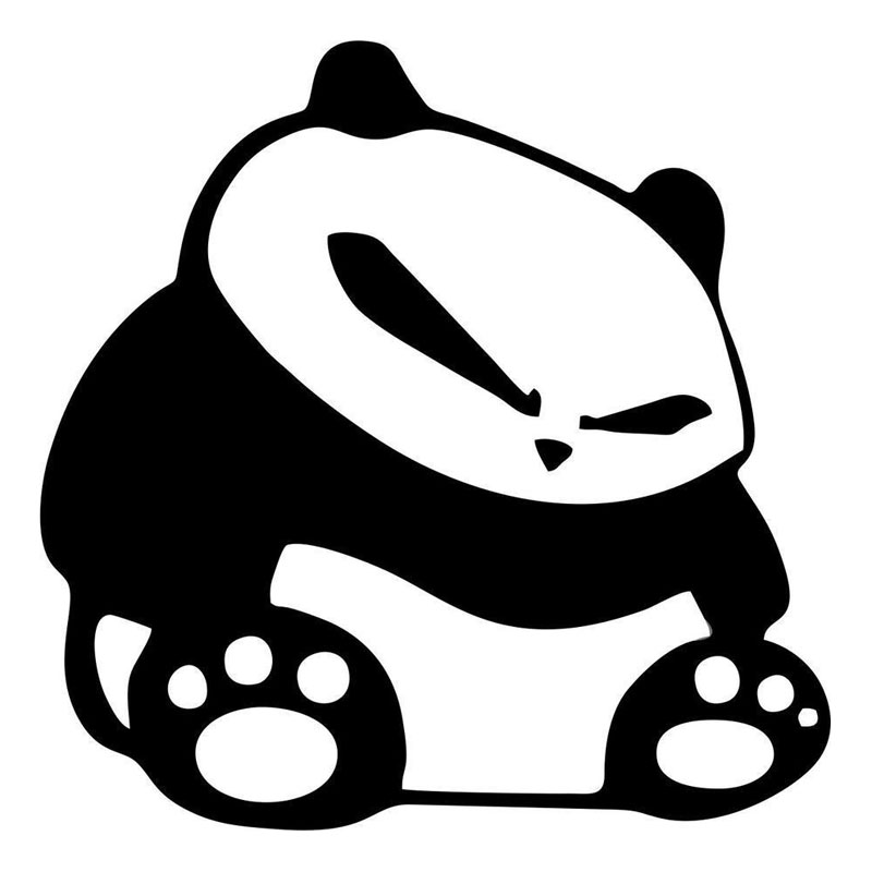 15.2*15.1CM Cartoon Panda Cool Face Vinyl Car Stickers Fashion Reflective Car Styling Decal Black/Silver S1-2185