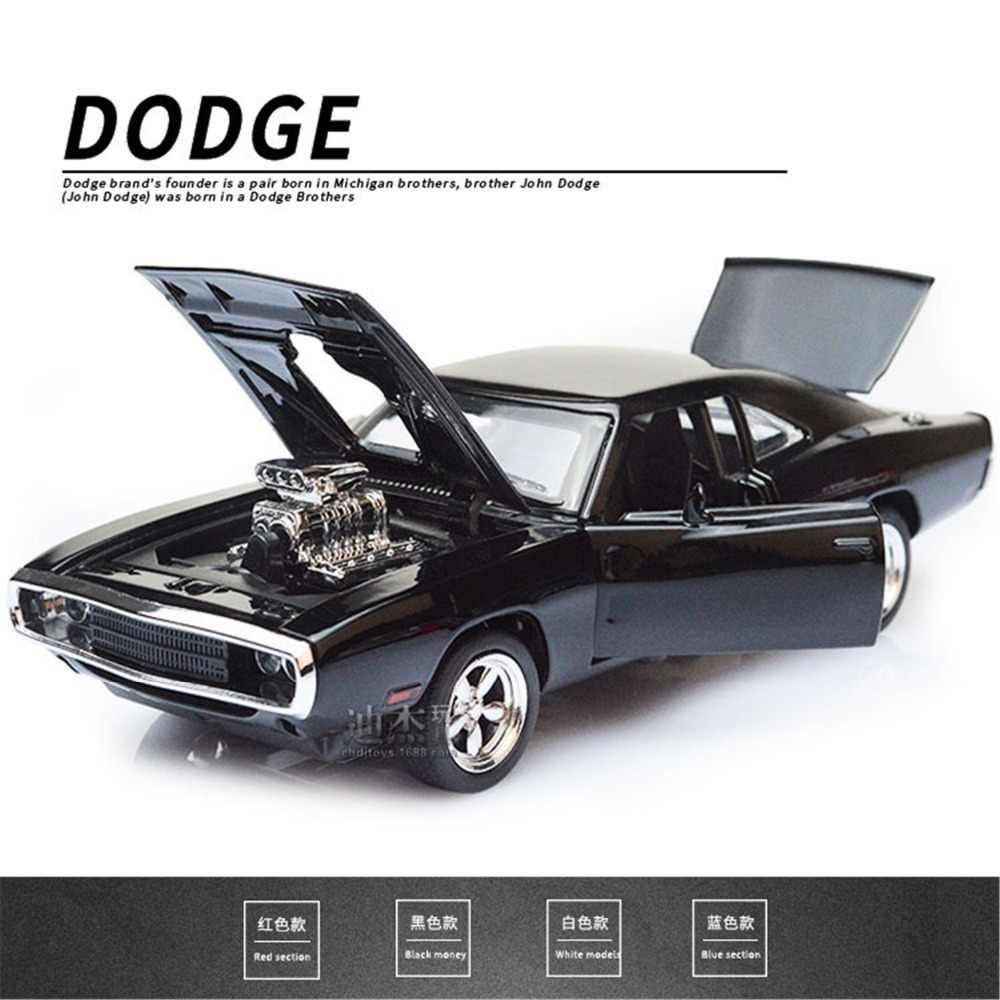 1/32 Fast & Furious Dodge Charger Cars Model Diecast Alloy Horses Muscle Car Models With Sound Lighting Toy Gift For Collections