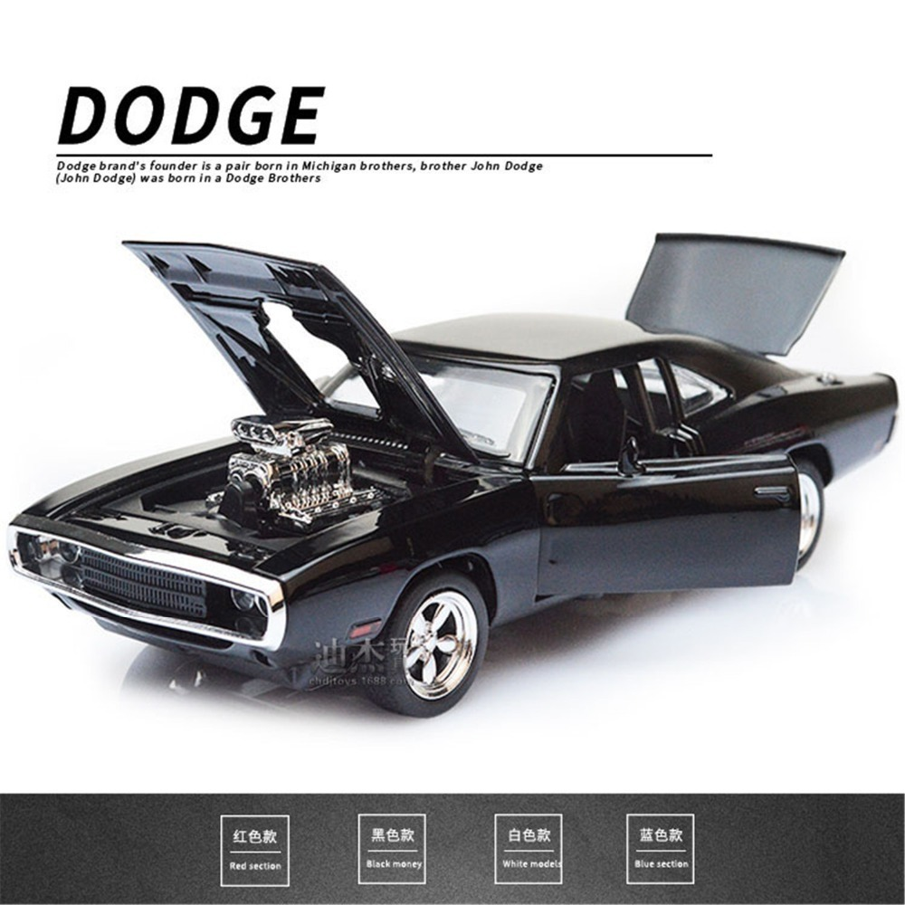 1/32 Fast & Furious Dodge Charger Cars Model Diecast Alloy Horses Muscle Car Models With Sound Lighting Toy Gift For Collections image