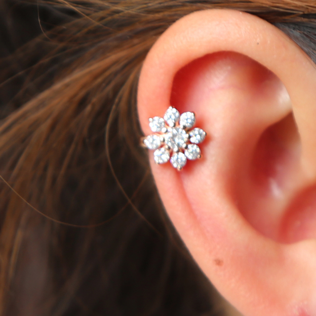 Snowflake Band Earring with Cubic Zirconia