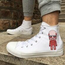 Вэнь дизайн аниме парусиновая обувь Атака Титанов белый черный высокие женские мужские Скейтбординг обувь кроссовки для Рождественский подарок
