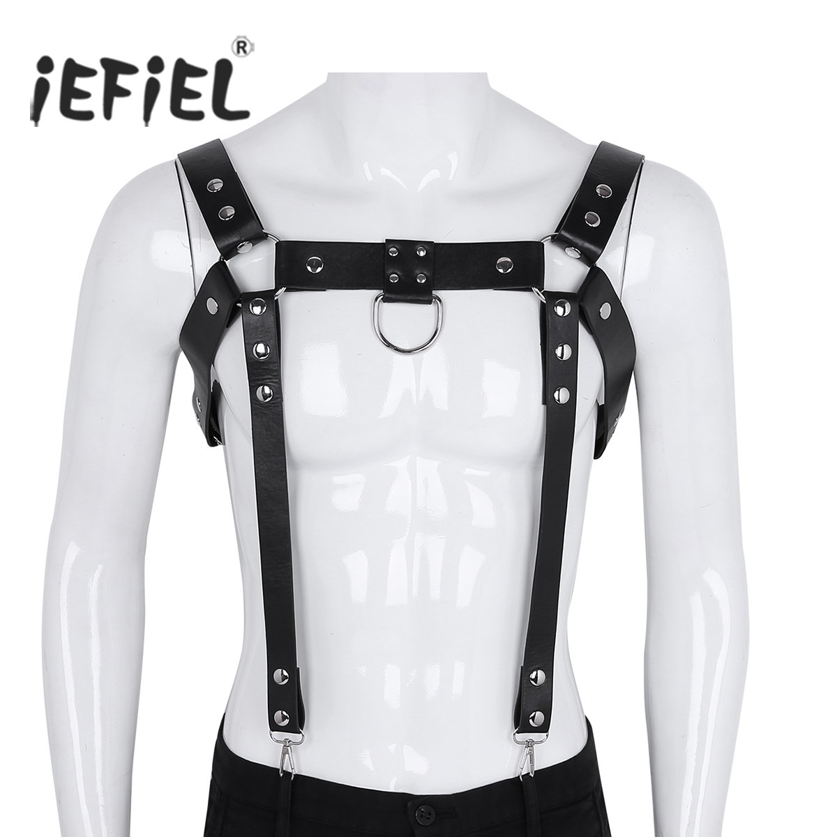 Mens Adjustable PU Leather Metal Rivet Studs Body Chest Half Harness Suspenders Belt with Buckles O-Rings Cosplay Club Costumes