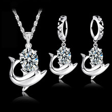 0f8fe970e8f9 JEXXI encantadora delfín brillante conjunto de joyas de Zirconia cúbica S90  colgante de plata collar de lazo pendientes conjunto.