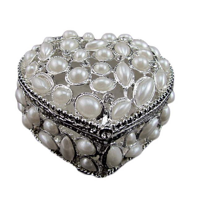 Romantic Pearl Metal Jewelry Box Wedding Pillow Favor Heart Shaped