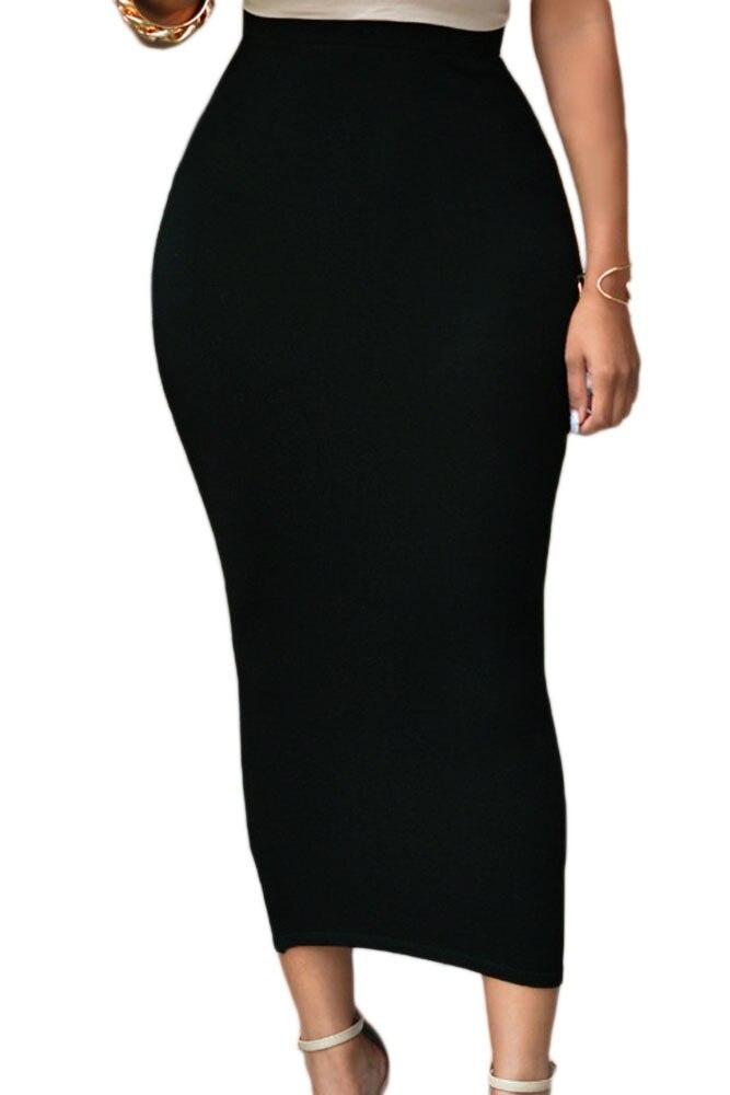 Women Office Lady Black Long Pencil Skirt Bodycon Slim Vintage Female Skirt Green High Waist Casual Brief Maxi Skirt for Work