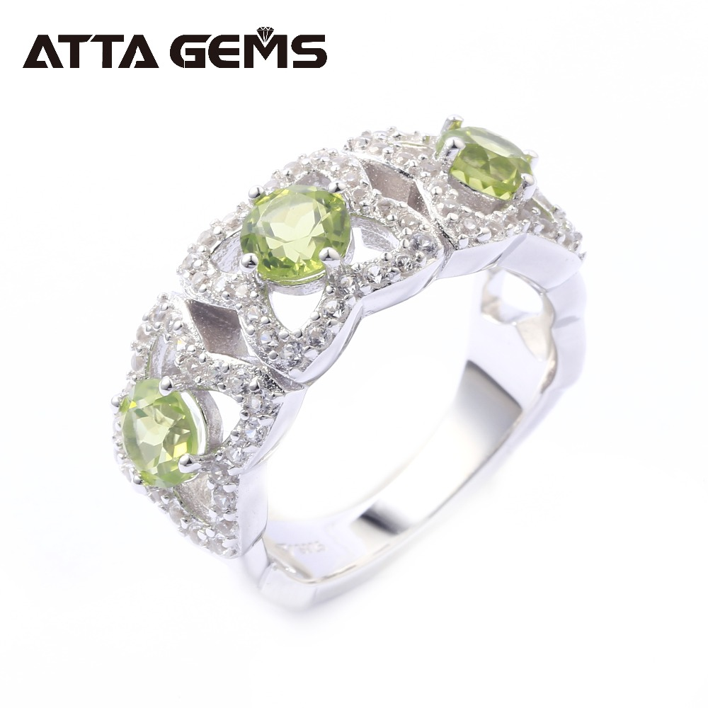 все цены на Natural Peridot Sterling Silver Rings 3 Carats Natural Peridot Classic Rings August Birthstone Christmas Gifts for Women