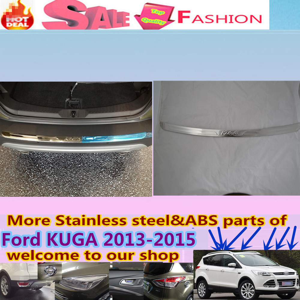 High Quality car body External Rear Bumper Protect trim cover detector Stainless Steel plate pedal 1pcs for Ford Kuga 2013-2015  high quality car styling cover detector abs chromium tail back rear license frame plate trim strips 1pcs for su6aru outback 2015