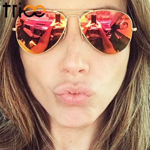 09bcceb6b7 TRIOO Red Mirror Sun Glasses For Women Classic Women Sunglasses Color Lens  Lunette Shades Brand Designer UV400 Protect
