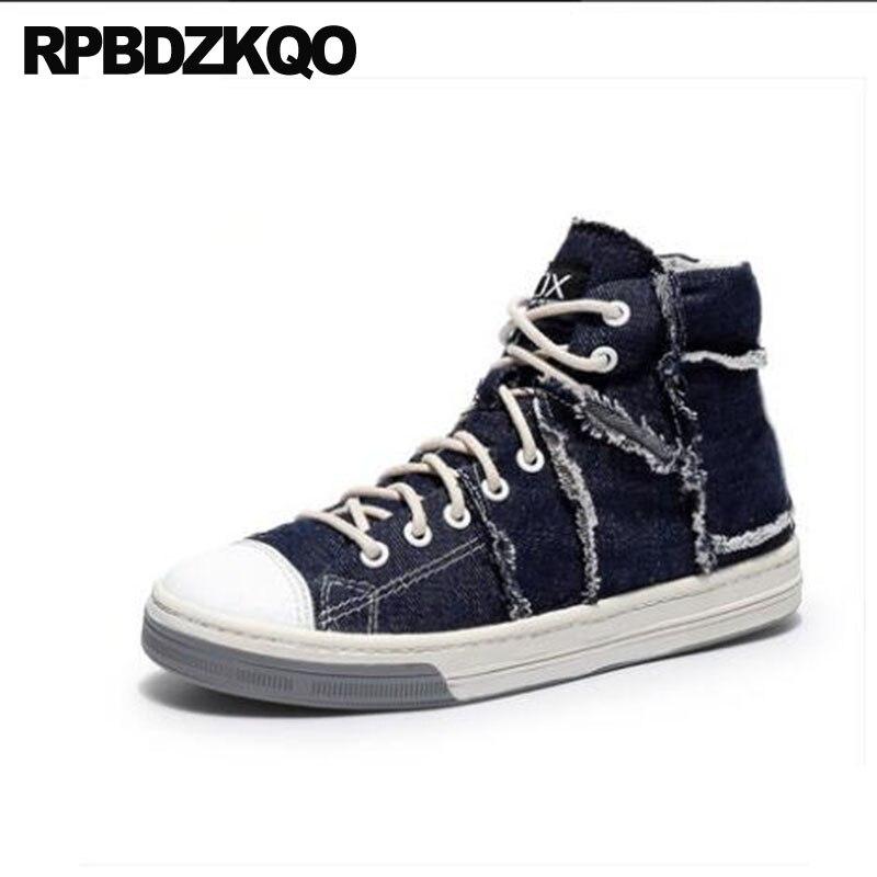 Haute Splicing De Marque Top Respirant Hop light Luxe Formateurs Chaussures Sneakers Hommes Toile Personnalisé Taille Bleu Grande Skate dark Blue Piste Hip Blue Appartements Qualité 2I9eWHYED